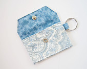 Mini key chain wallet/ simple ID Key chain/ Business card holder/ keychain coin purse / aqua blue paisley pattern