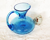 vintage handblown glass pitcher, blue glass pitcher, blue crackle glass jug