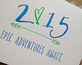 New Year's Cards - SET OF 6 - 2015 New Year's Holiday Cards - Epic Adventures Await - Letterpress New Year 2015 Cards
