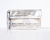 Silver Pastel Pink Leather // Holographic Fold Over Clutch // Art Deco // Geometric // New Years Party Clutch