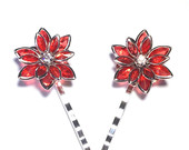 Handmade Red Glam Rhinestone Flower Bobby Pin Set