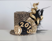 Over the Top 2015 New Years Eve Party - Black and Gold - Mini Top Hat Headband (or fascinator) - Perfect Photo Prop