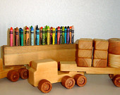 Toy truck, wooden toy truck, semi truck, Crayon holder, toy crayon holder, truck and trailer, Childs gift, toy car, wooden car, toy blocks