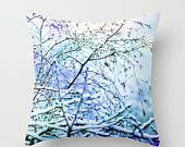 ON SALE Winter Beauty, Snow Scene, Throw Pillow Cover, Affordable Home Decor, Surreal, Purple, Blue, Trees, Frost, Rustic, Quiet, Abstract,