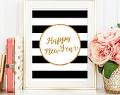 Printable Gold Glitter 'Happy New Year' print  - Home Decor - Graphic Digital Art - Instant Download, New Year Printable