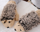 Cartoon cute female hedgehog gloves Women winter gloves Thickening Warm Winter Mittens