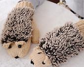 Cartoon cute female hedgehog gloves Women winter gloves Thickening Warm Winter Mittens