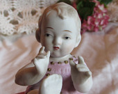 Lefton Piano Baby Girl Lefton China Porcelain Baby Bisque Baby