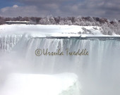 A Frozen World, Niagara Falls in Winter, American Falls, Waterfall, Photography, Whites, Blues, Ontario, Canada, New York, USA