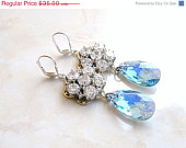 35% Off Sale Wedding Jewelry Swarovski Earrings Blue CZ  Sterling Silver Chandelier AE4