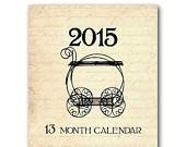 ON SALE 13 Month Calendar - 2015 Calendar - Vintage Look - French Script - Jewel Case CD Case - Easel Style - Desk Calendar - Gift Idea - Ne