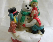 CYBER SALE Vintage Frosty the Snowman Music Box, Kids Making Frosty the Snowman Figurine