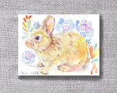 ooak Original Rabbit ACEO Watercolor Painting- buy 3 get 1 free, Children Art,Nursery Art Home Decor
