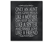 Only an aunt can give hugs like a mother... keep secrets like a sister... share love like a friend - Typography Wall Art Inspirational Quote