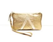 Gold Metallic Leather Wristlet // Art Deco // Zipper Pouch // Wallet // Geometric // Valentine Day's Gift