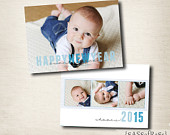 New Year's Card PHOTOSHOP TEMPLATE: 5x7 {Happy New Year Type} INSTANT Download, Photographer template, Commercial Use