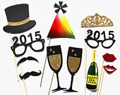 2015 New Year Eve Holidays GLITTER 12 Piece Set Photo Booth Props - Wedding Party Favor