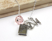 Personalized Book Lover Necklace with Your Initial and Birthstone Romance Novels - SP36