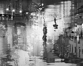 Black and white photography, abstract art poster, Night city lights, surreal St Petersburg, silver black wall art Watercolor print, 36x24