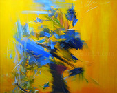 stretched blue yellow canvas art - abstract flowers print giclee