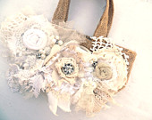 CUSTOM French Shabby Burlap Purse. Vintage and Tattereded Tote. Cottage Chic Flowers. Boho. Country Couture. Gypsy Girl.