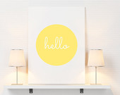 Hello print, hallway decor, living room, wall decor, hello poster, hallway print, hallway poster, minimalistic, yellow, simple, home decor