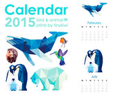 2015 Calendar, 35% Discounted, Unique geometric bird and animal calendar, Geometric prints, Original illustrations, Minimal art, tinykiwi