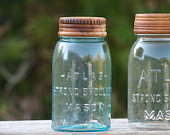 Wood Canning Jar Lids [2] - Vintage Atlas Jar Lids - Wood Top for Glass Jars - Pantry Organization - Storage Display