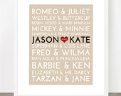 Famous Couples Subway Print - 8x10 Fully Customizable - Unique, Romance, Wedding Gift, Bridal Shower, Wedding, Valentines or Anniversary