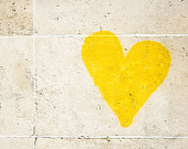 Paris Graffiti Heart, Yellow Wall Art Prints, Paris Decor, Romantic Art Heart Print, Valentine Gift