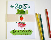 2015 calendar, Illustrated garden calendar, Watercolor wall calendar, Kitchen decor, Seasonal vegetable calendar, Gardening, Botanical decor