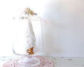 Shabby Victorian Rustic Romance. White Bottle Brush Tree and Reindeer. Apothecary Pedestal Glass Compote Candy jar