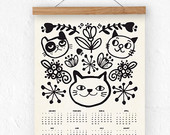 Wall calendar 2015 - Cats - A3, A3+ size - 100% recycled paper/ eco friendly home decor