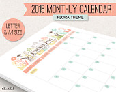 Printable 2015 Monthly Calendar (Flora Theme)