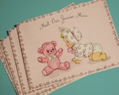 Vintage Baby Girl with Teddy Bear Birth Announcements (12) - Meet Our Junior Miss