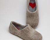 Felted Warmest Love Clogs - Felt organic merino wool neutral beige grey - felted slippers - handmade slippers valentines day gift