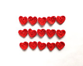 Crocheted hearts applique, red hearts - Valentines day embellishments, scrapbooking, wedding favors, decorations /set of 15/