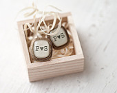 Personalized Initials cufflinks - Rustic wedding cufflinks (C020)