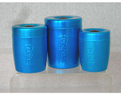 3 Blue Anodized Aluminum Canisters Bird Seed -Gravel and Treats  Vintage