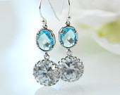 March Birthstone earrings, Aquamarine Earrings, Blue bridal earrings, Blue earrings for wedding,  Crystal and Cubic zirconia