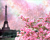 "Paris Photography, Dreamy Pink Eiffel Tower Wall Decor, Paris Spring Eiffel Tower Photo, Paris Pink Wall Art, Paris Fine Art Photos 5"" x 7"""