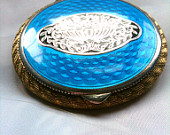 Art Nouveau Compact Blue Enamel Compact 1920s French Silver Vintage Accessories Vintage Jewelry