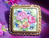 50's French Brooch Limoges Porcelain Roses - Handmade- Pink and Blue Flower Handpainted-  Made in France- French Marks - Vintage from 1950