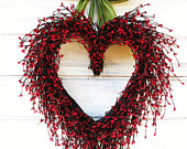 Valentines Wreath-Wedding Wreath-Wedding Decor-Say I LOVE YOU-Gift for Mom-Wedding Gift-Heart Wreath-Valentines Decor-Choose Ribbon & Scent