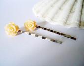Yellow ROSE Bobby Pin Bridesmaid Hair Clip Resin Rose