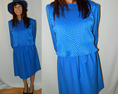 M.C.S. Ltd - New York - Sapphire Blue Vintage Dress