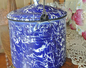 Graniteware Covered Berry Bucket Cobalt Blue and White Swirl Rare Hard to Find  Rustic FarmhouseCooking Antique Circa Early 1900s Victorian