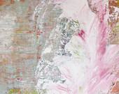 "Original Abstract Painting, 9"" x 12"" Acrylic Pink, Gray, White, Modern Wall Art, Shabby Chic Decor"