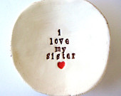 I love my sister with tiny red heart Jewerly Dish Made to Order