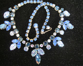 Vintage Jewelry Signed REGENCY Prong Set Blue Rhinestone and Irridescent Carved Glass Choker Style Necklace 1950's-'60's